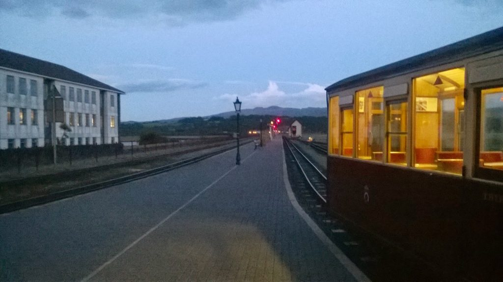 Carriages in the Porthmadog Platform at night