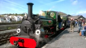 Linda and Blanche ready for departure on the Ffestiniog Railway