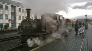 Merddin Emrys at Portmadog with train to Rhyd Ddu