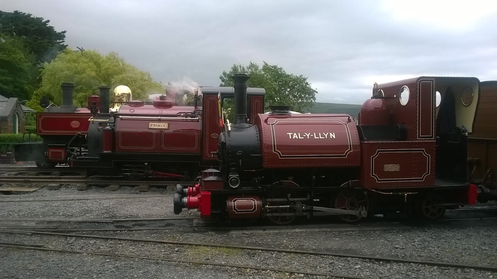 Russell, Prince and Talyllyn all lined up at Tywyn Wharf