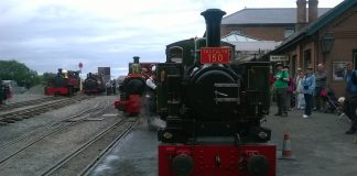 Tom Rolt, Talyllyn, Prince and Russell at Tywyn Wharf on the Talyllyn Railway