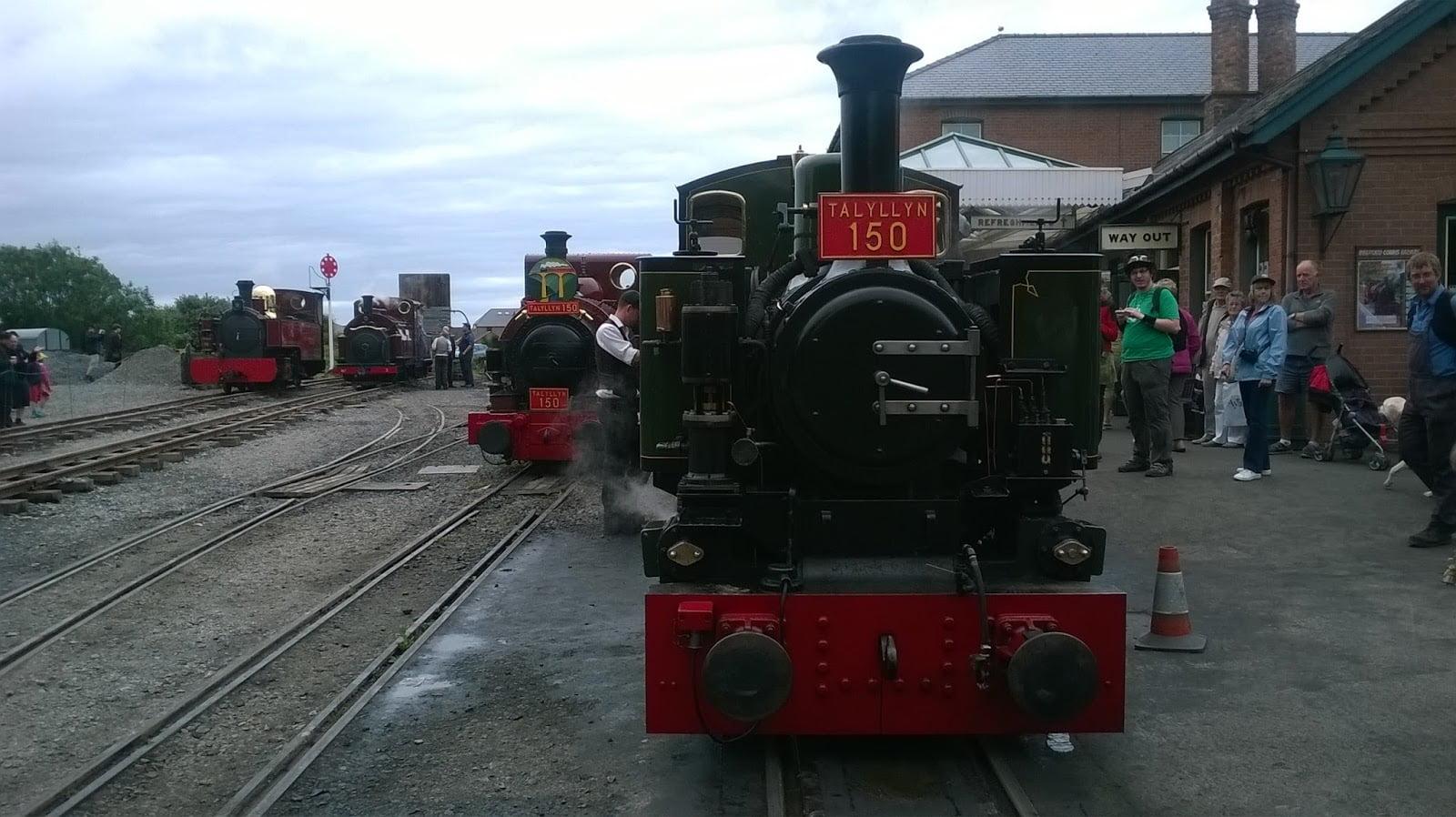 Tom Rolt, Talyllyn, Prince and Russell at Tywyn Wharf on the Talyllyn Railway