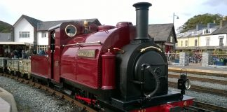 Palmerston just out of the paint shop at Porthmadog Harbour Station on the Ffestiniog Railway