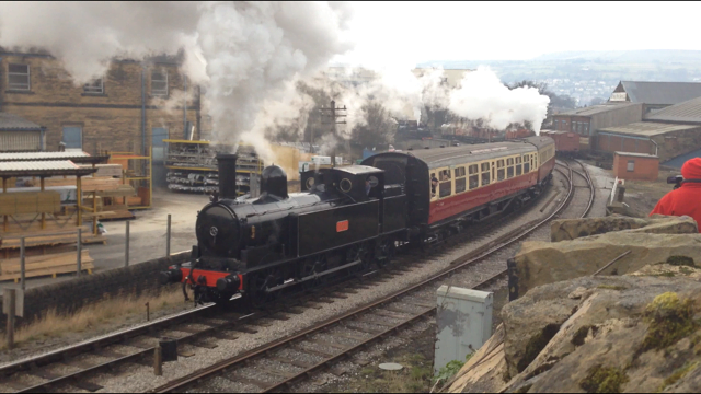 No. 1054 & Nunlow depart Keighley with the Shuttle