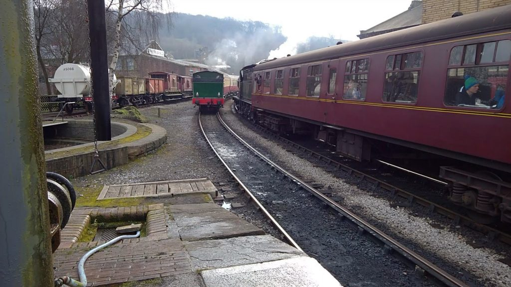 Nunlow passes No. 43924 at Keighley
