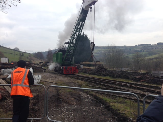 Steam Crane in operation at Oakworth