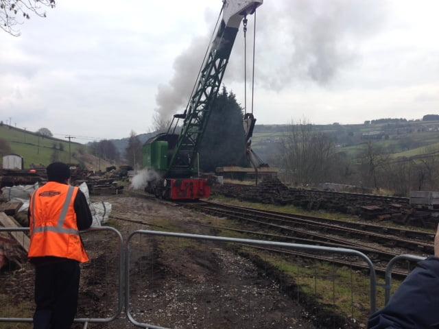 Steam Crane in operation at Oakworth