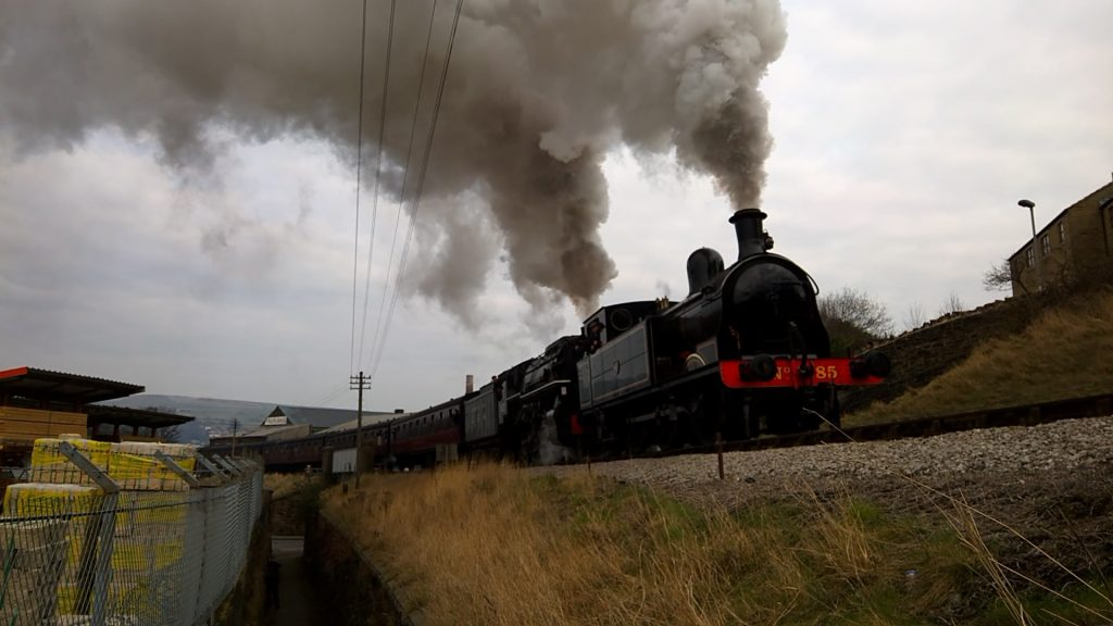 No. 85 and S160 'Big Jim' depart Keighley