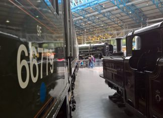 Livingston Thomas and No. 66779 Evening Star & 92220 Evening Star at the NRM