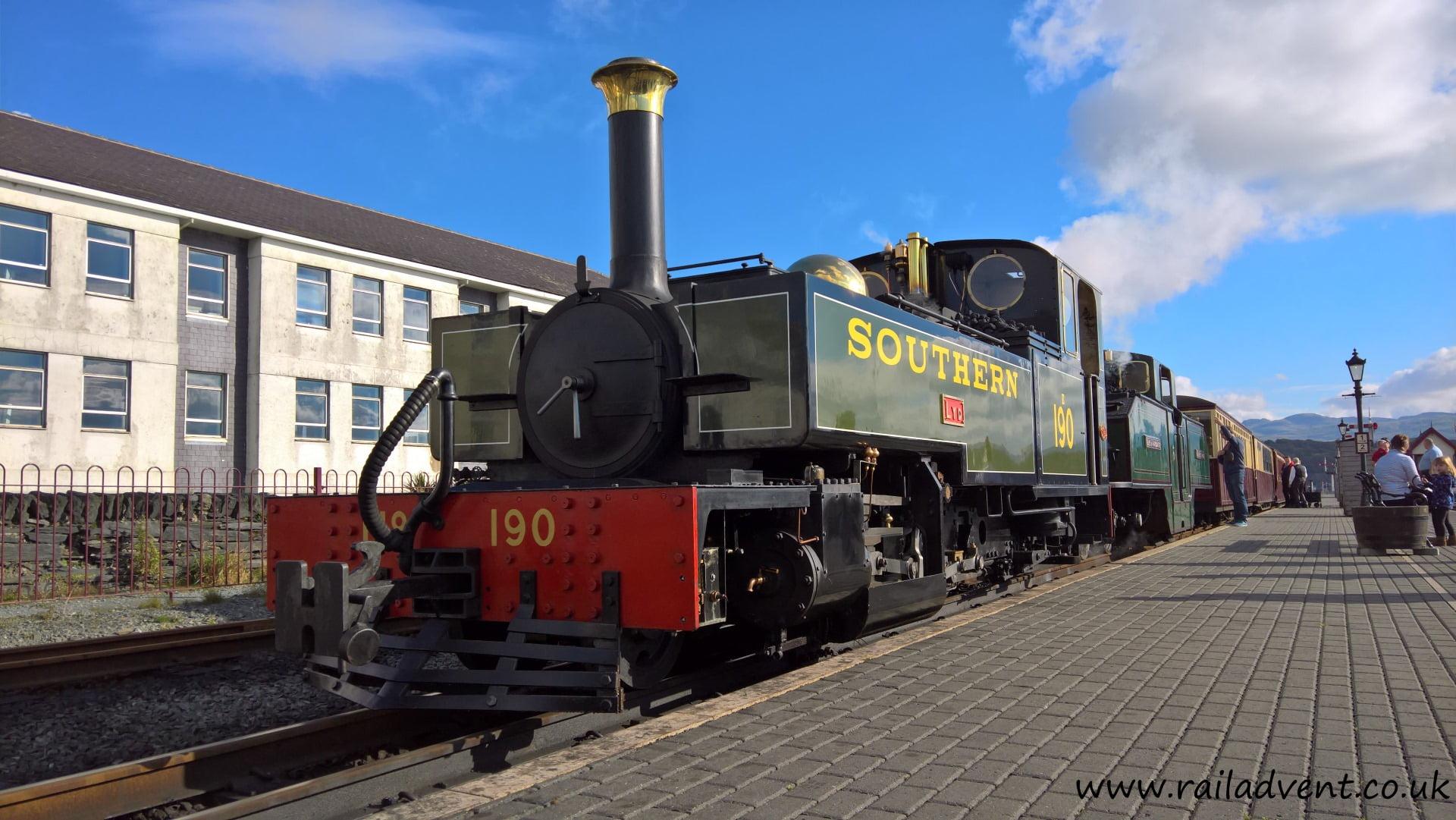 Lyd and Earl of Merioneth at Porthmadog on the Ffestiniog Railway