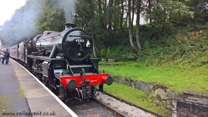 No. 45212 arrives at Ingrow West on the Keighley & Worth Valley Railway at the Autumn Steam Gala