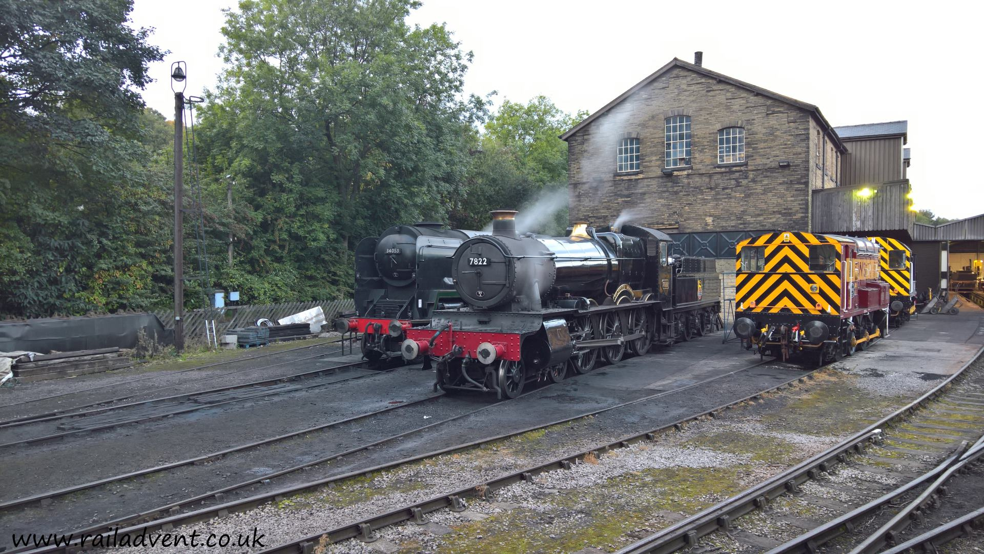 No. 7822 Foxcote Manor and 34053 Sir Keith Park stand at Haworth Sheds on the Keighley & Worth Valley Railway at the Autumn Steam Gala