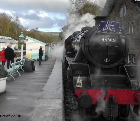 Black 5 44806 at Grosmont on the North Yorkshire Moors Railway