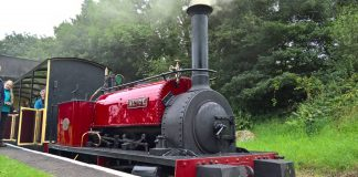 Hunslet loco Alice at Bala on the Bala Lake Railway