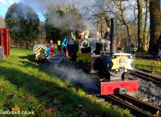 Sarah takes out a Santa Special on the Thompson Park Railway