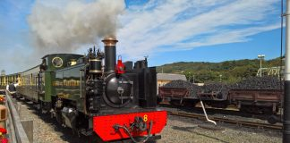 No. 8 Llywelyn departs Aberystwyth for Devils Bridge on the Vale of Rheidol Railway