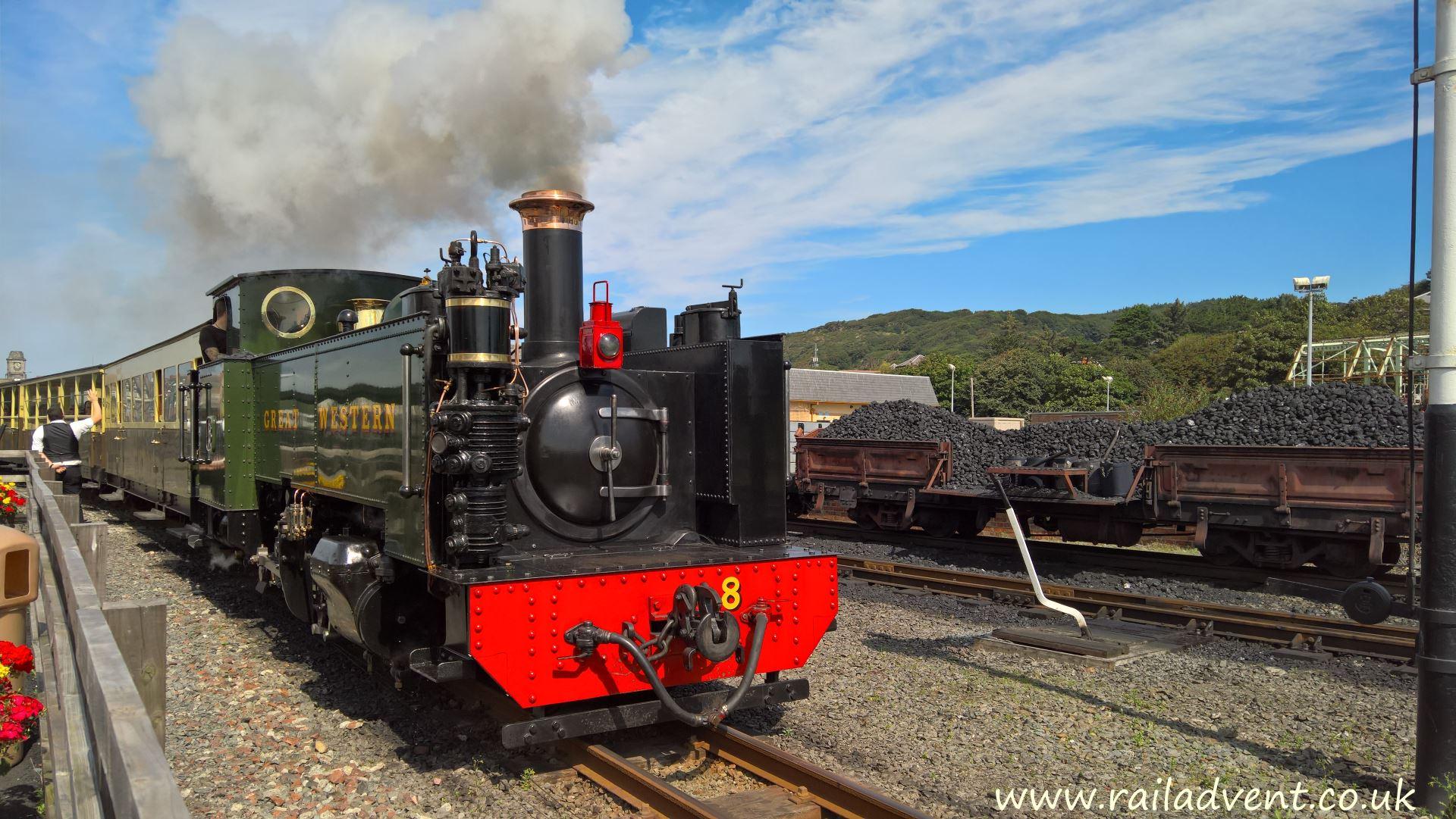 No. 8 Llywelyn departs Aberystwyth for Devils Bridge on the Vale of Rheidol Railway