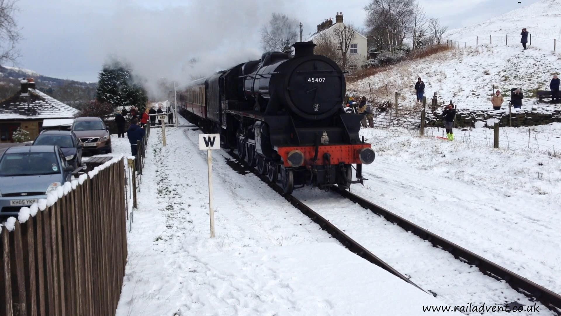 45407 arrives at Irwell Vale on the East Lancs Railway