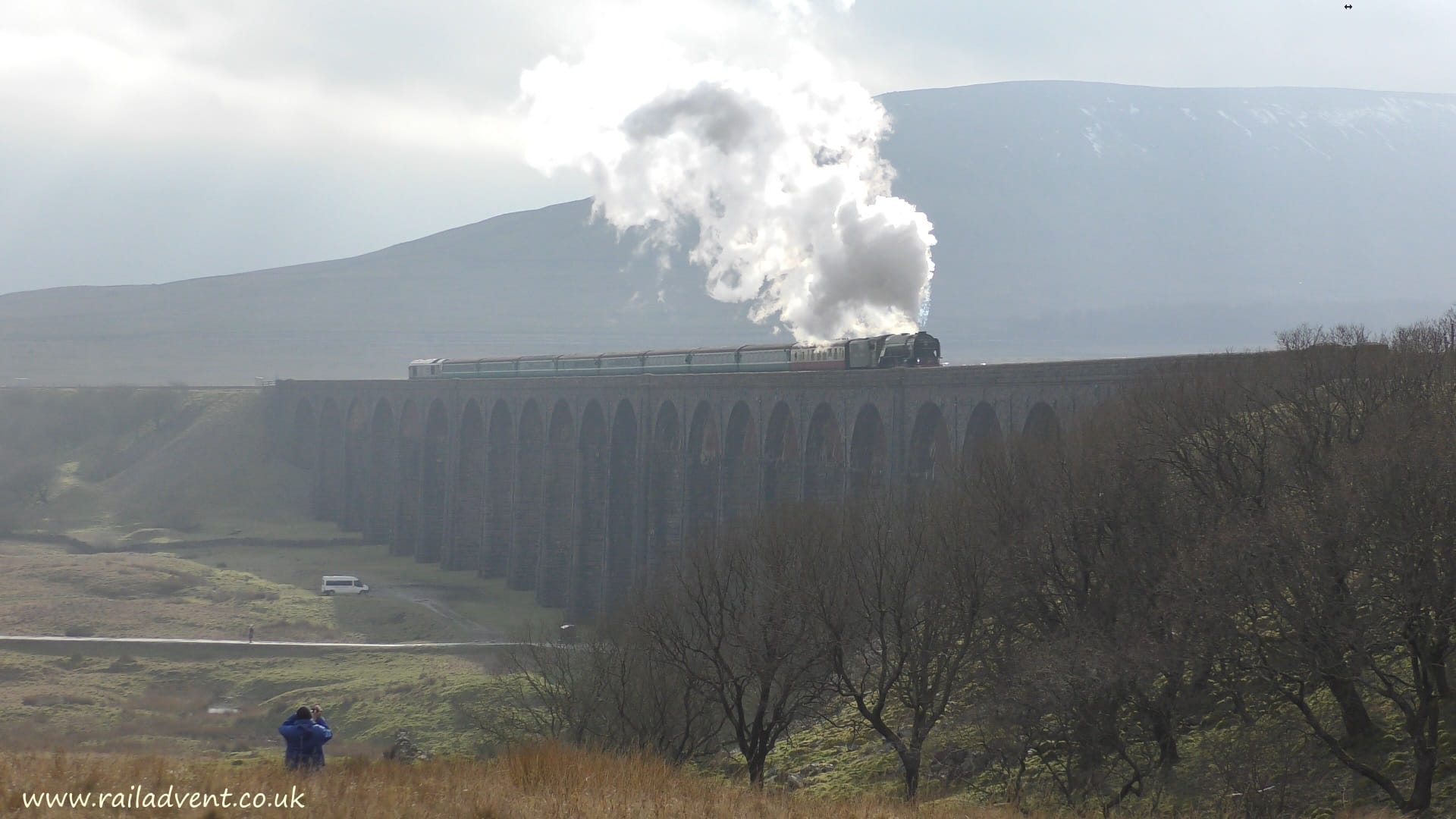 No. 60163 Tornado steams over Ribblehead Viaduct on the Settle and Carlisle Railway