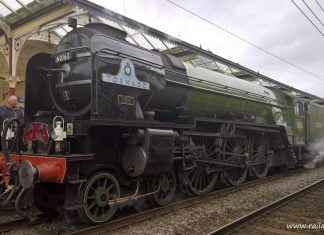 A1 No. 60163 Tornado stands at Skipton ready to depart for Appleby