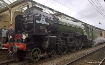 A1 Steam Locomotive Trust 's A1 No. 60163 Tornado stands at Skipton ready to depart for Appleby