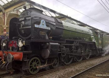 A1 No. 60163 Tornado stands at Skipton ready to depart for Appleby // Credit: RailAdvent