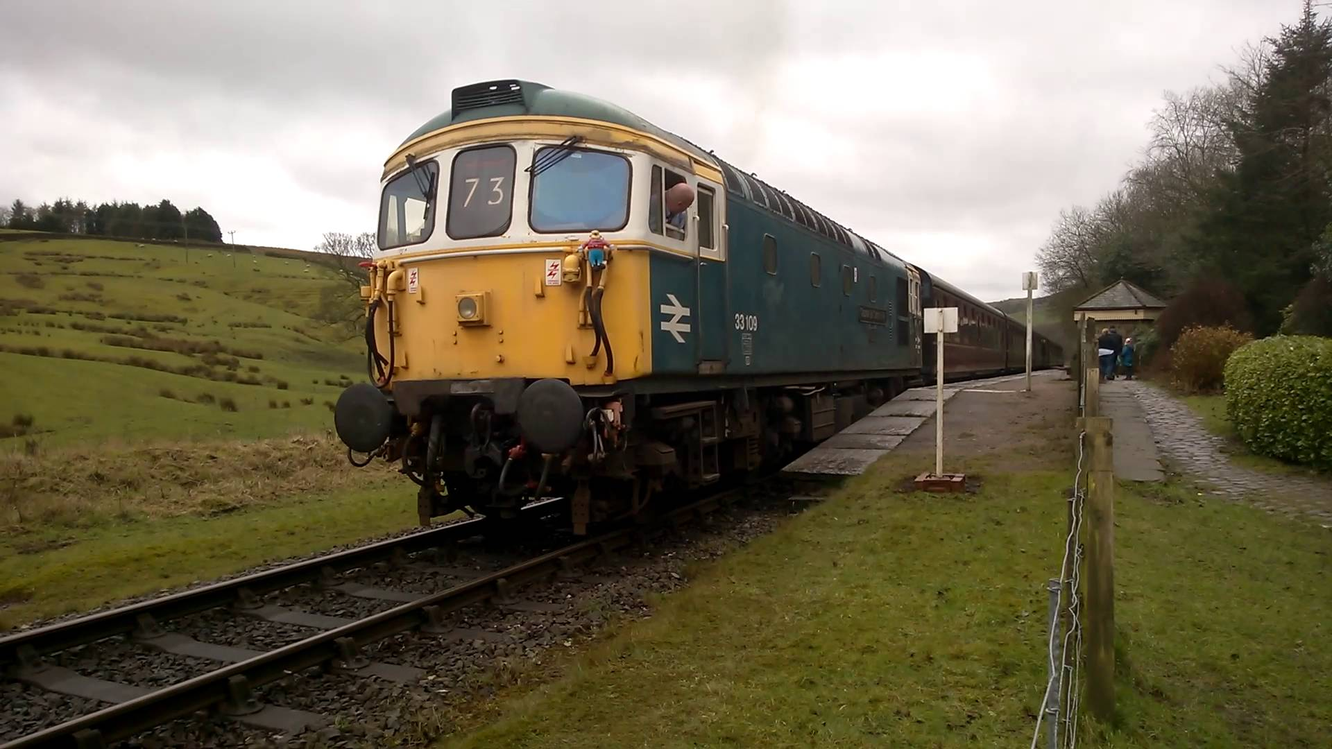 Class 33 No. 33109 departs Irwell Vale on the East Lancs Railway during their 2016 Spring Diesel Gala
