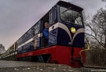Graham Alexander prepares for departure from Willow Lawn on the Ruislip Lido Railway during our Half Term Visit