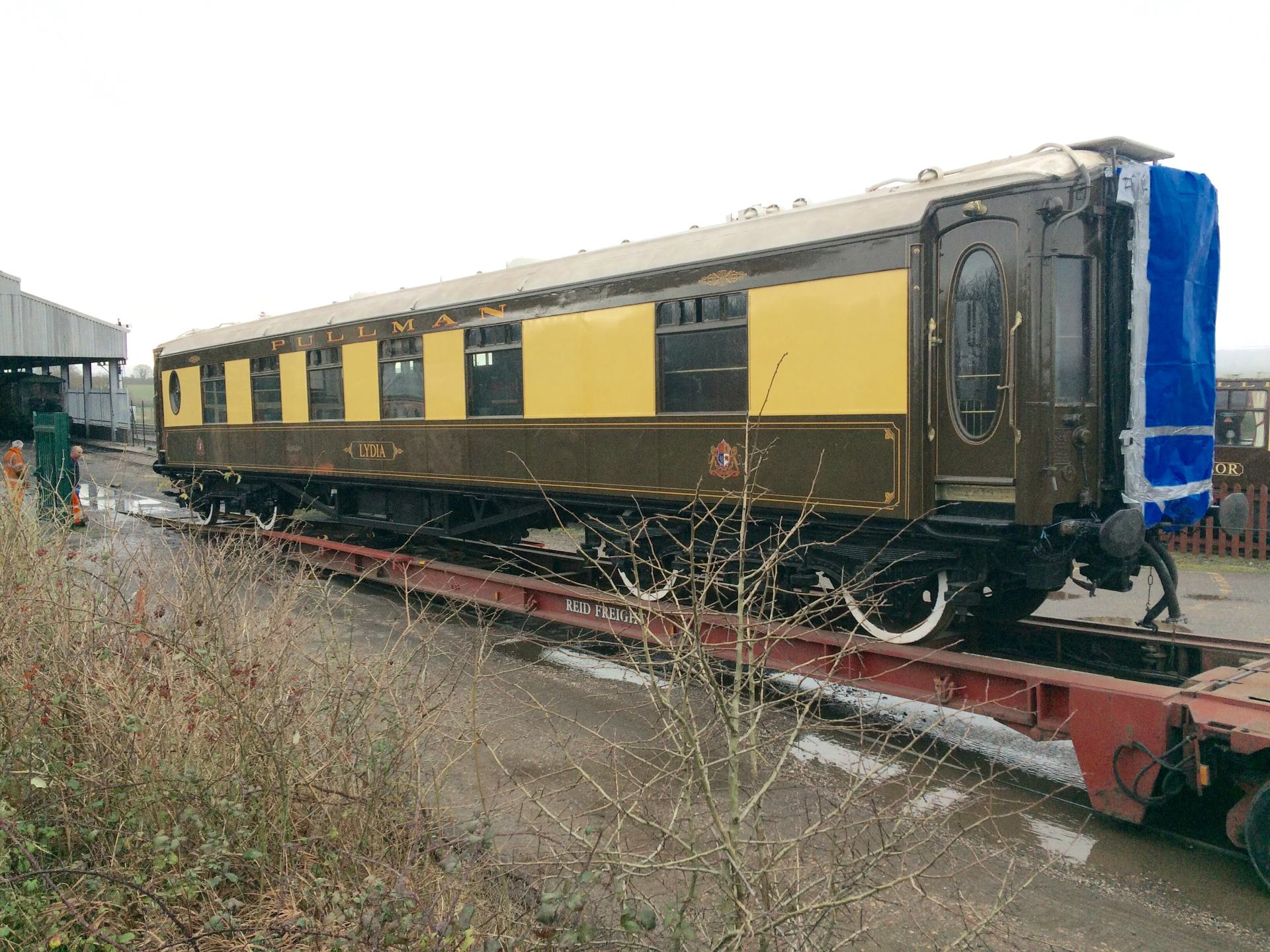 Pullman Coach Lydia arrives at the West Somerset Railway