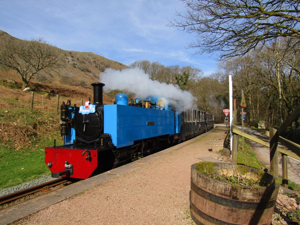 Wroxham Broad arrives at Beckfoot on the Ravenglass & Eskdale Railway