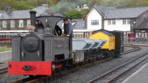 Diana on the freight during the Ffestiniog Railway Quirks & Curiosities 2 event