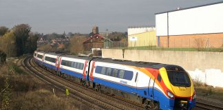 An East Midlands Trains Class 222 works a service towards London St Pancras