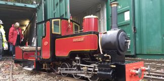 Visiting steam loco Sophie B at the sheds after being off loaded