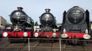 "6000 ""King George V"", 5043 ""Earl of Mount Edgcumbe"" and 71000 ""Duke of Gloucester"" @ Tyseley - 25-10-15 // Credit: Jamie Duggan"