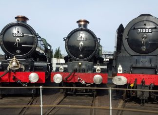 "6000 ""King George V"", 5043 ""Earl of Mount Edgcumbe"" and 71000 ""Duke of Gloucester"" @ Tyseley - 25-10-15 // Credit: Jamie Duggan"