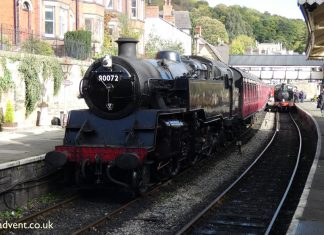 80072 at Llangollen on the Llangollen Railway during the Autumn Steam Gala
