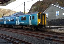 Arriva Trains Wales (Unidentified 150) arrives into Blaenau Ffestiniog with a service from Llandudno