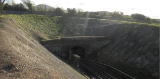 West coast mainline after work to repair a cutting after a landslip which caused a derailment
