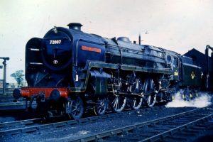 "72007 ""Clan MacKintosh"" in British Railway days Credit The Clan Project, building 72010 Hengist"