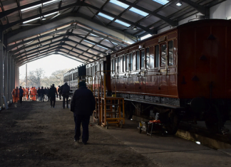Carriages move into the new shed at the bluebell railway