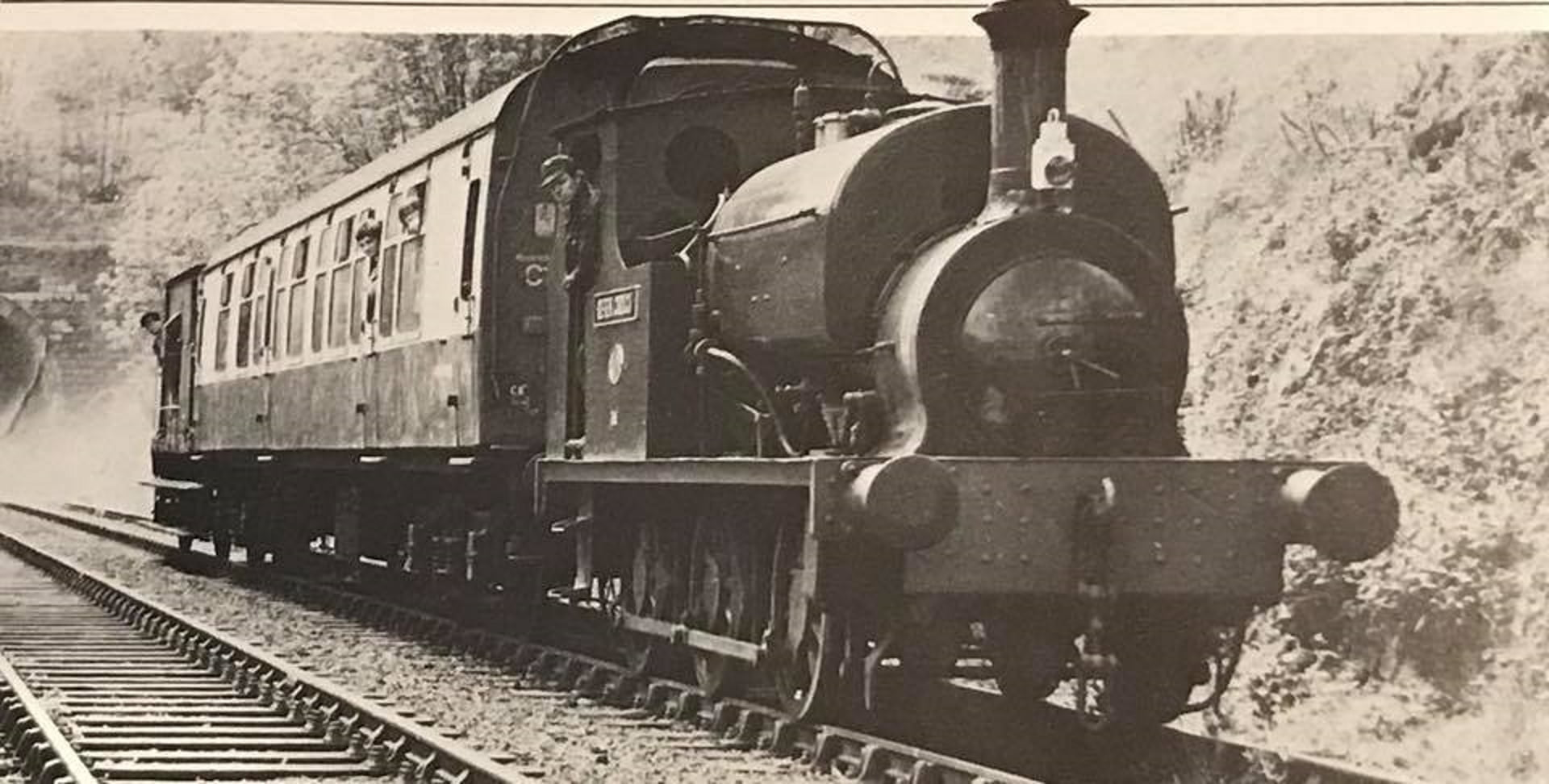 Derek Crouch hauling a coach and brake van // Credit The Small Loco Group FB Page