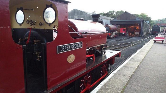 Derek Crouch on display at Wansford Station // Credit The Small Loco Group FB Page