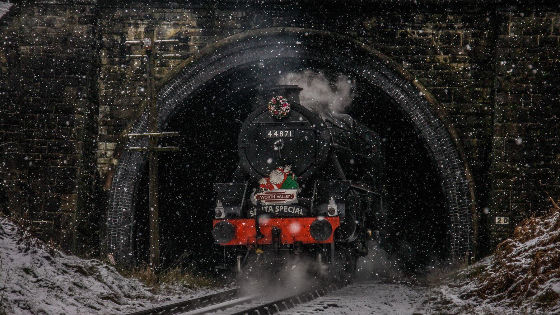 44871 bursts out of Mytholmes Tunnel on the Keighley and Worth Valley Railway