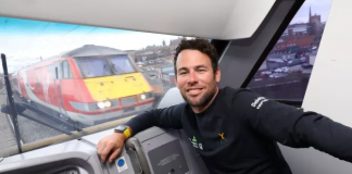 Mark Cavendish takes a ride on a Virgin Trains service