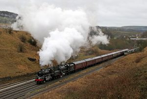 steam locomotives 76084 anmd 45690 leander on their way to buxton