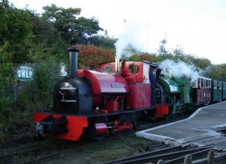 Leader and Melior prepare to double head the last train of the day on the Sittingbourne & Kemsley Light Railway