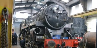 "73082 ""Camelot"" undergoing maintenance // Credit The 73082 Camelot Locomotive Society"