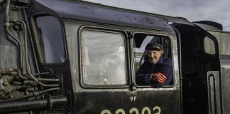 "David Shepherd on the Footplate of 92203 ""Black Prince"" // Credit NNR"