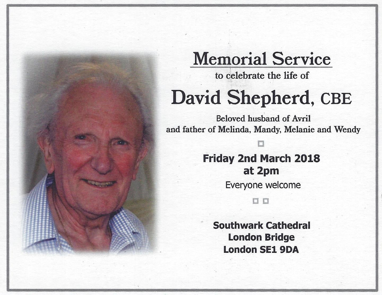 Details about David Shepherd's Memorial Service // Credit NNR