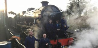 Staff take a well deserved break and picture with repaired 45231 // Mid Hants Railway The Watercress Line FB Page
